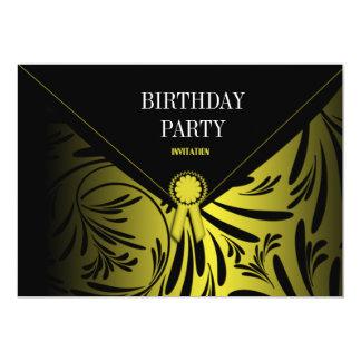Black Gold Envelope Birthday Party Invitation