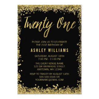 Black Gold Faux Glitter 21st Birthday Invitations