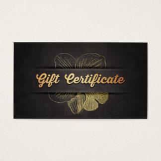 Black Gold Floral Salon Boutique Gift Certificate