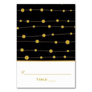 Black, gold foil beads wedding escort place card table card
