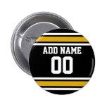 Black Gold Football Jersey Custom Name Number 6 Cm Round Badge