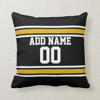 Black Gold Football Jersey Custom Name Number Cushion