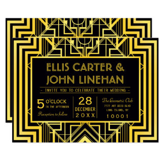 Black & Gold Geometric Wedding Invitations