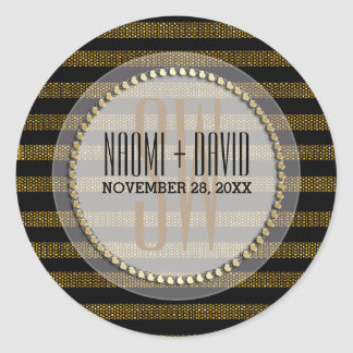 Black Gold Glam Stripes Monogram Wedding Sticker
