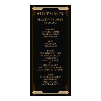 Black Gold Great Gatsby Art Deco Wedding Menu Card