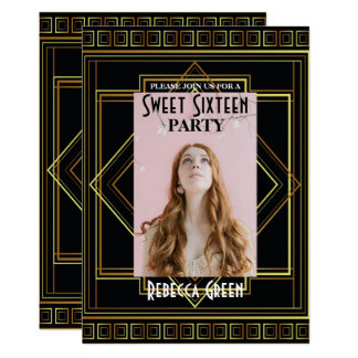 Black Gold Great Gatsby Sweet sixteen party Card