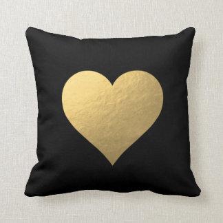 Black Gold Heart Pillow Cushions