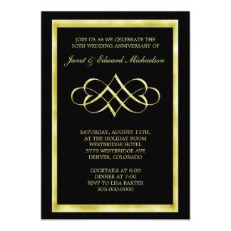 Black Gold Heart Swirl Anniversary Invitation