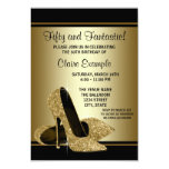 Black Gold High Heels Womans Birthday Party Personalised Invitation