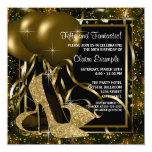 Black Gold High Heels Womans Birthday Party Personalised Announcements