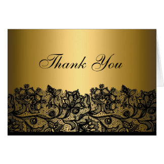 Black & Gold Lace Thank You Card