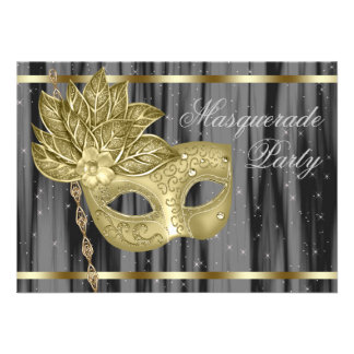 Black Gold Masquerade Party Custom Invite