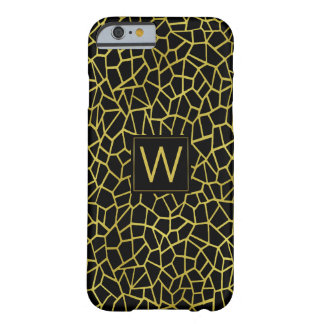 Black Gold Monogram Art Deco Upscale Luxury Barely There iPhone 6 Case