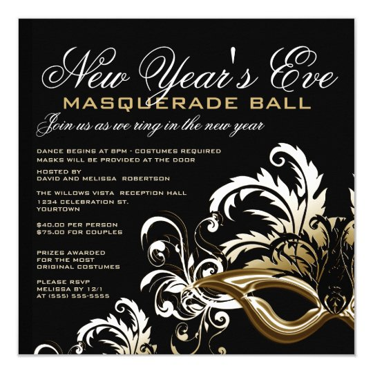 blackgold new years eve masquerade ball invitation