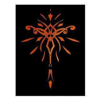 Black Gold Orange Starburst Dramatic Design Postcard