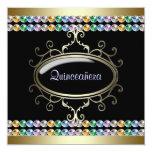 Black Gold Rainbow Quinceanera 13 Cm X 13 Cm Square Invitation Card