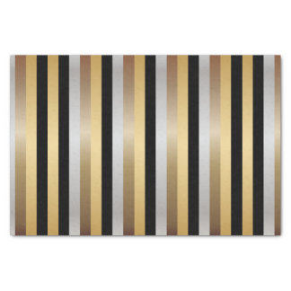 Black, Gold, Silver and Bronze Stripes Tissue Paper
