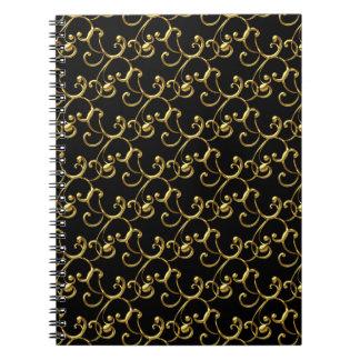 Black Gold Swirl Spiral Business Notebook