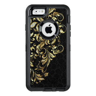 Black Gold & White Glitter Floral Lace OtterBox Defender iPhone Case