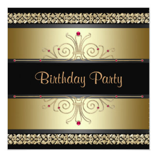 Black Gold Womans Birthday Party Invitations