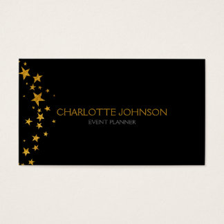 Black Golden Stars Stylist Event Planner Vip Business Card
