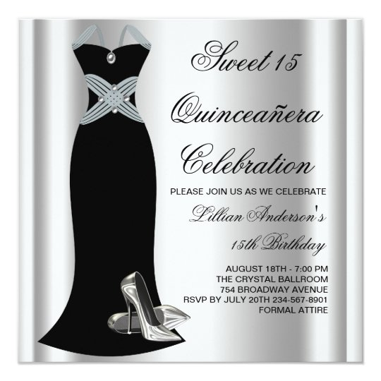 Black Gown High Heel Shoes Sweet 15 Quinceanera 13 Cm X 13 Cm Square Invitation Card