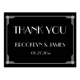 Black Great Gatsby Art Deco Wedding Thank You Postcard