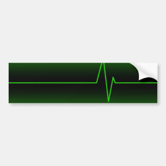 Black Green EKG Bumper Sticker
