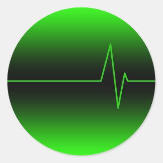 Black Green EKG Classic Round Sticker