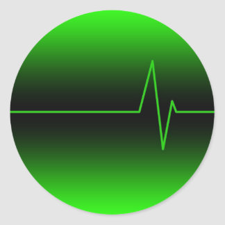 Black Green EKG Round Sticker