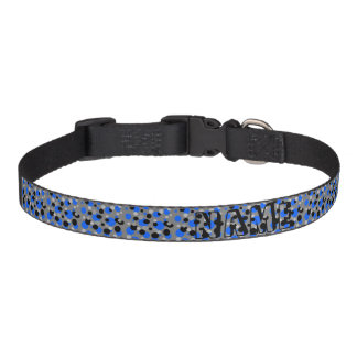 Black Grey and Blue Dots Pet Collar