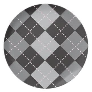 Black Grey Argyle Pattern Plate