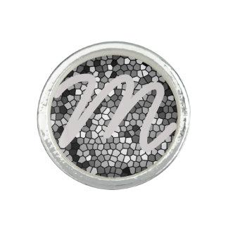Black Grey White Mosaic Love Ring Monogram