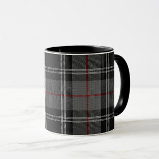 Black Grey White Red Tartan Plaid Mug