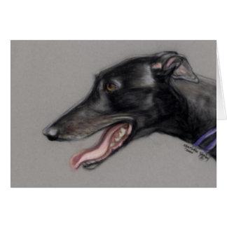 Black Greyhound Dog Art Notecard
