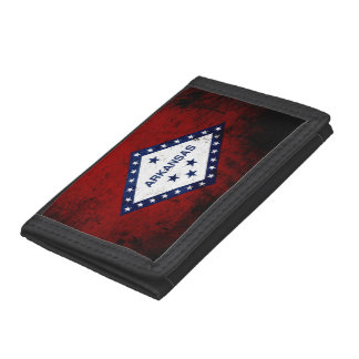 Black Grunge Arkansas State Flag Trifold Wallet