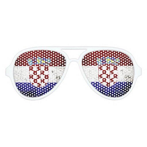 Black Grunge Croatia Flag Sunglasses