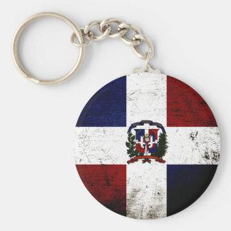Black Grunge Dominican Republic Flag Key Ring