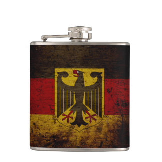 Black Grunge Germany Flag Hip Flask