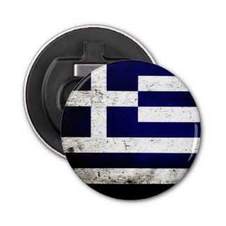 Black Grunge Greece Flag Bottle Opener