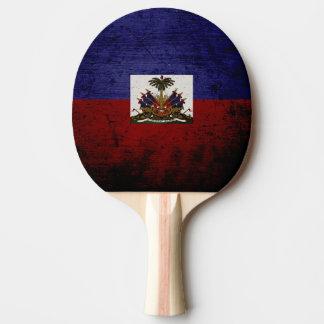 Black Grunge Haiti Flag Ping Pong Paddle