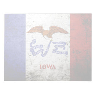 Black Grunge Iowa State Flag Notepad