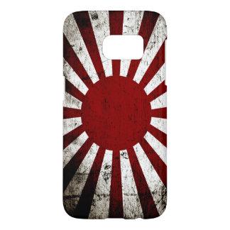 Black Grunge Japan Rising Sun Flag