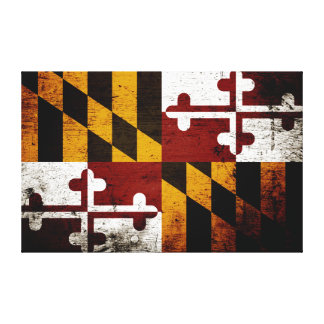 Black Grunge Maryland State Flag Canvas Print
