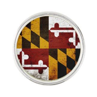 Black Grunge Maryland State Flag Lapel Pin