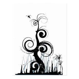 Black Grunge Swirls With Bird - Blue Postcard