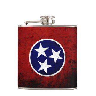 Black Grunge Tennessee State Flag Hip Flask