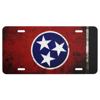 Black Grunge Tennessee State Flag License Plate