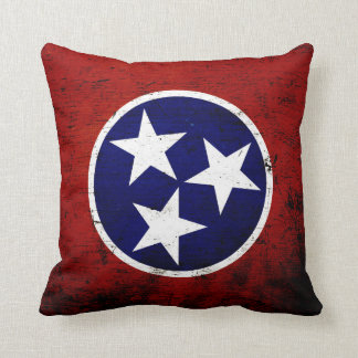 Black Grunge Tennessee State Flag Throw Pillow