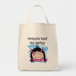 Black Hair World's Best Big Sister Tshirts Tote Bag